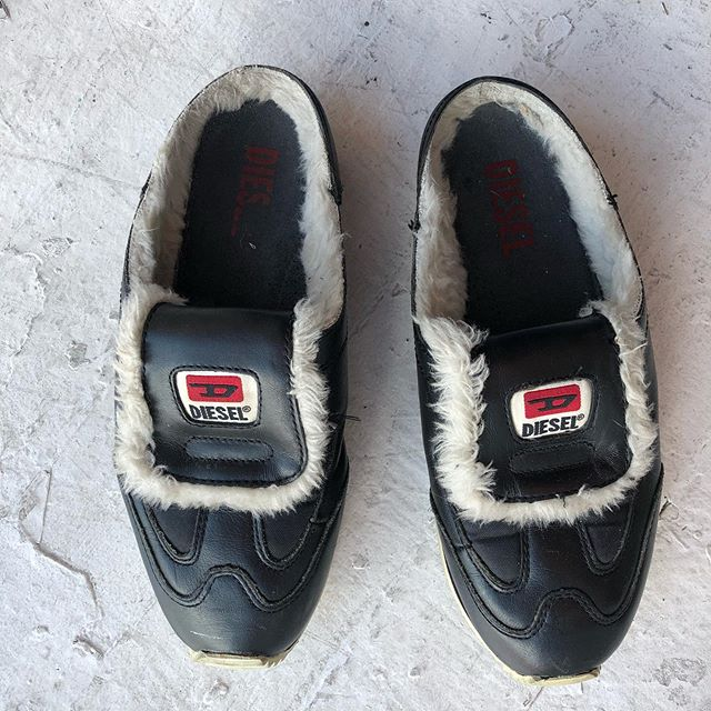 VACATION - Got sum killer slip ons by #Diesel leather with some Sherpa lining on these cozy boys. Size 8