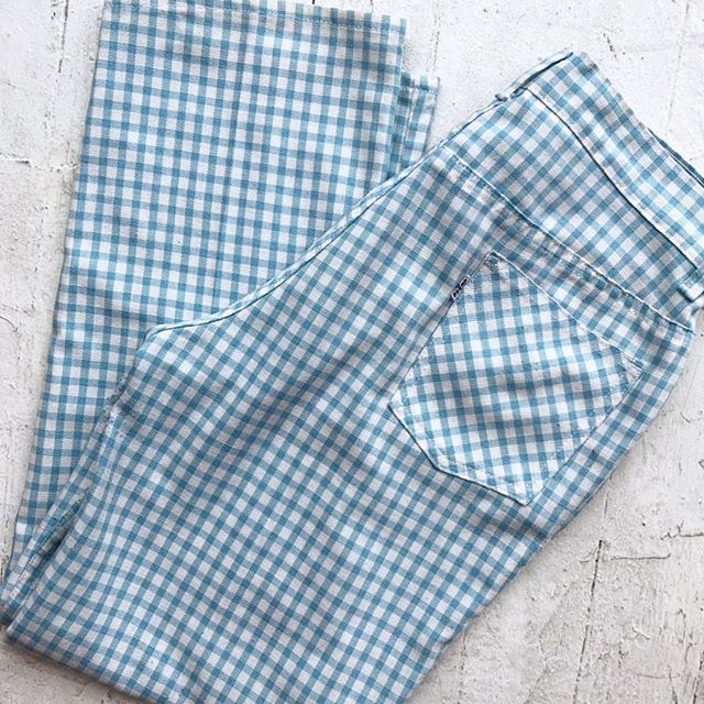 "VACATION - *Special Listing* So darn good baby blue gingham #bigE #staprestforgals pants!! 30"" waist."
