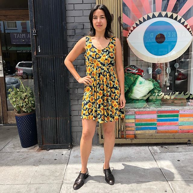 "VACATION - Little rayon #sunflower print sundress. Gettin' summery out there. Not exactly here in SF yet, but somewhere! Don't sweat it, wear this and stay cool 😎 and cute. Size 7/8, 38"" bust, 31"" waist, 34"" length. Shown on size 4 model. 🌻🌻"