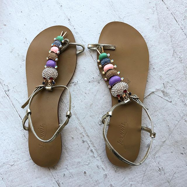 VACATION - The most precious sandal. Greek made gold leather straps with totally amazing rhinestone caterpillar detail. ⚜️💎 - Euro size 39, US 8.