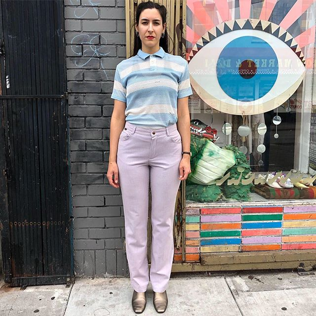 "VACATION - Get #stuffed in these lavender #linen bootcut pants. Your perfect 👌 light summer pant. Thank you #stuffedjeans Size 13, 30"" waist, 11"" rise, 33"" inseam."