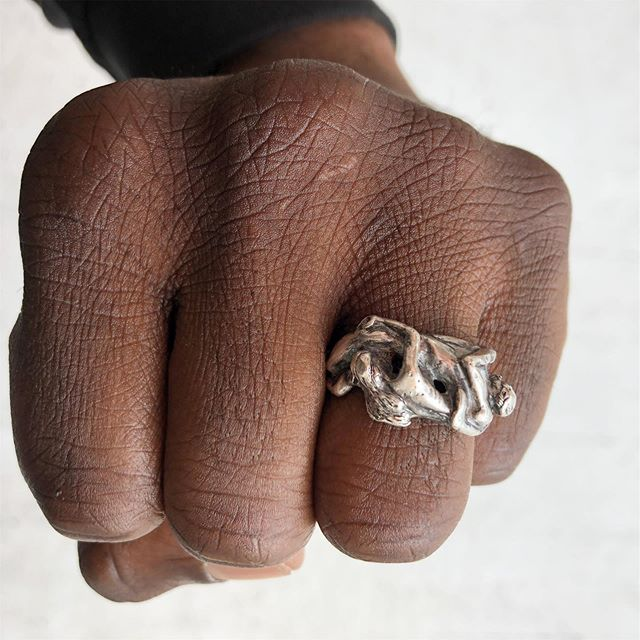 VACATION - Sterling ring featuring two people doing some sort of horizontal dance where they face each other's crotches (?). Does anyone know what the dance is called? Size 8