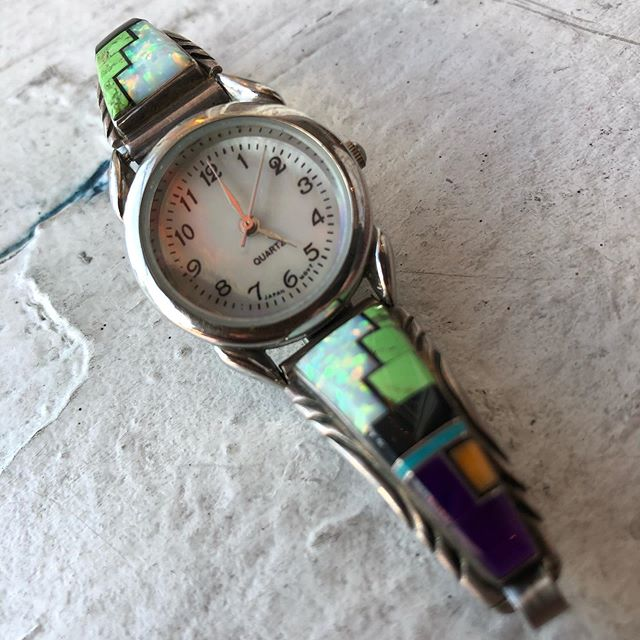 VACATION - Amazing watch with sterling opal modern Zuni inlay. Semi precious stones, needs a new battery!!