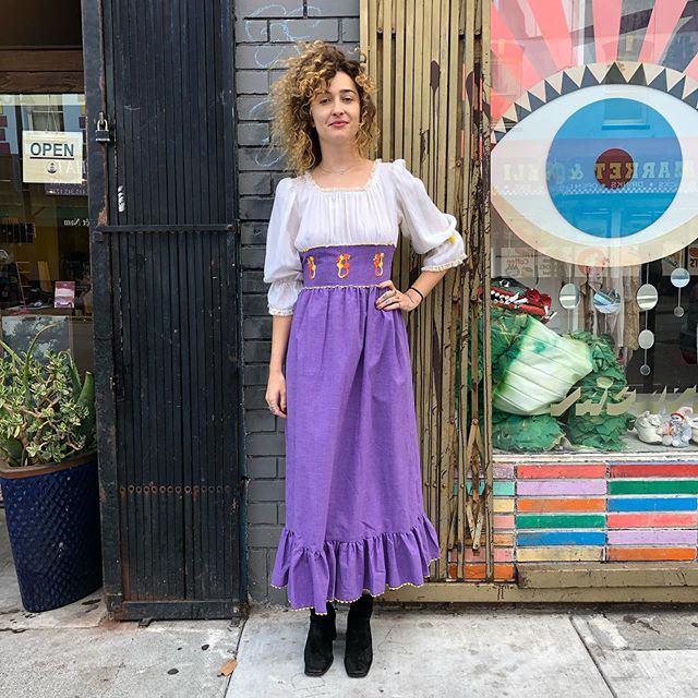 "VACATION - Any folky cat mums out there? 1960s vintage maxi dress. With embroidered kitty love💜Length: 50"" Shoulders: 14"" Waist: 24"" Hips: 46"""