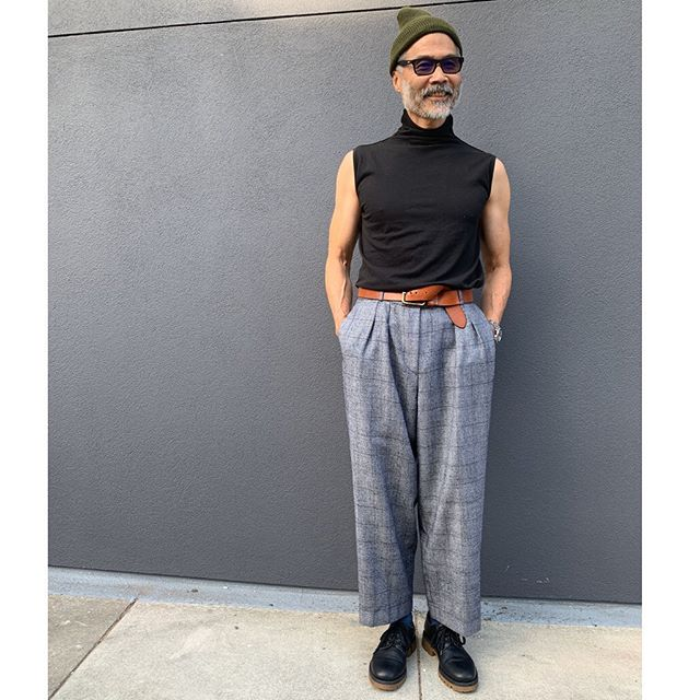 ReLove  - Day 2  Galen sports vintage Armani trousers of our dreams, classic Rick Owens turtleneck and Valentino shoes. PERIOT.  Cop this look online on our site or call us directly. Swipe for the details.  Last photo is our favorite ✨✨ - - - - -TURTLENECK: @rickowensonline Fall 2009 collection. Perfect layering piece. Men's size S but of course can be worn by all genders,