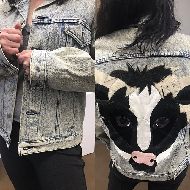 2_time_couture - Mooooo-ve on over to 2 Time Couture for this incredible jean jacket. We seriously doubt you'll find another and you'll wear it forever!  Item No. 9842. Moo-motifs Jean jacket Size small.