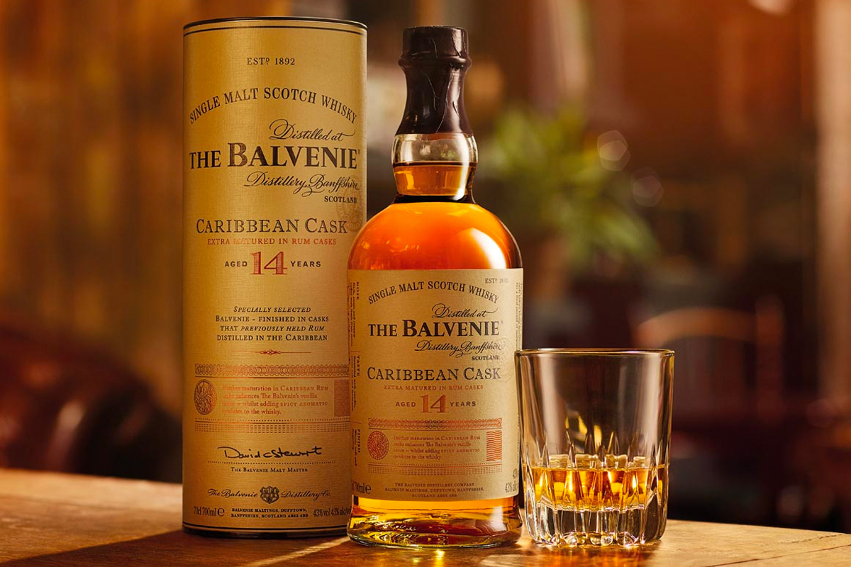 whiskey barrel finishes: The Balvenie Caribbean Cask 14 Year