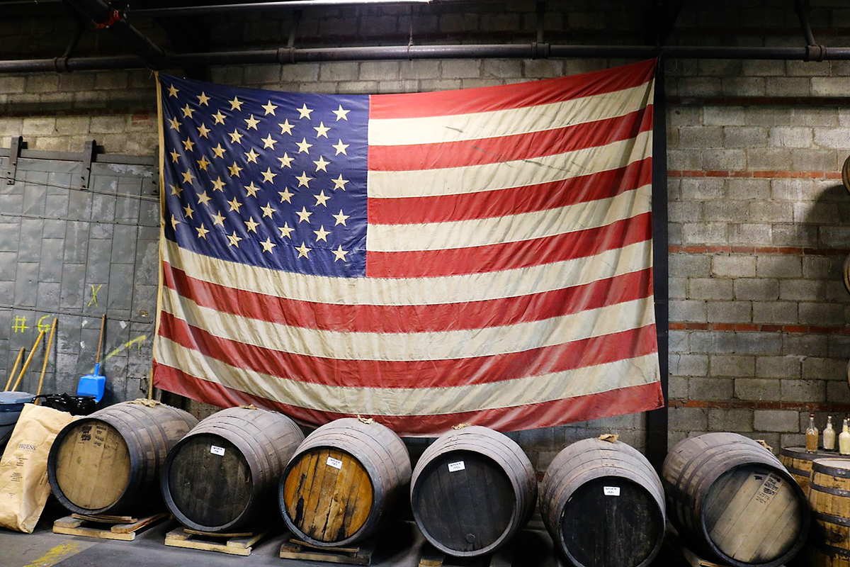 Bourbon Basics: Barrels and American Flag at Nelson's Green Brier Distillery