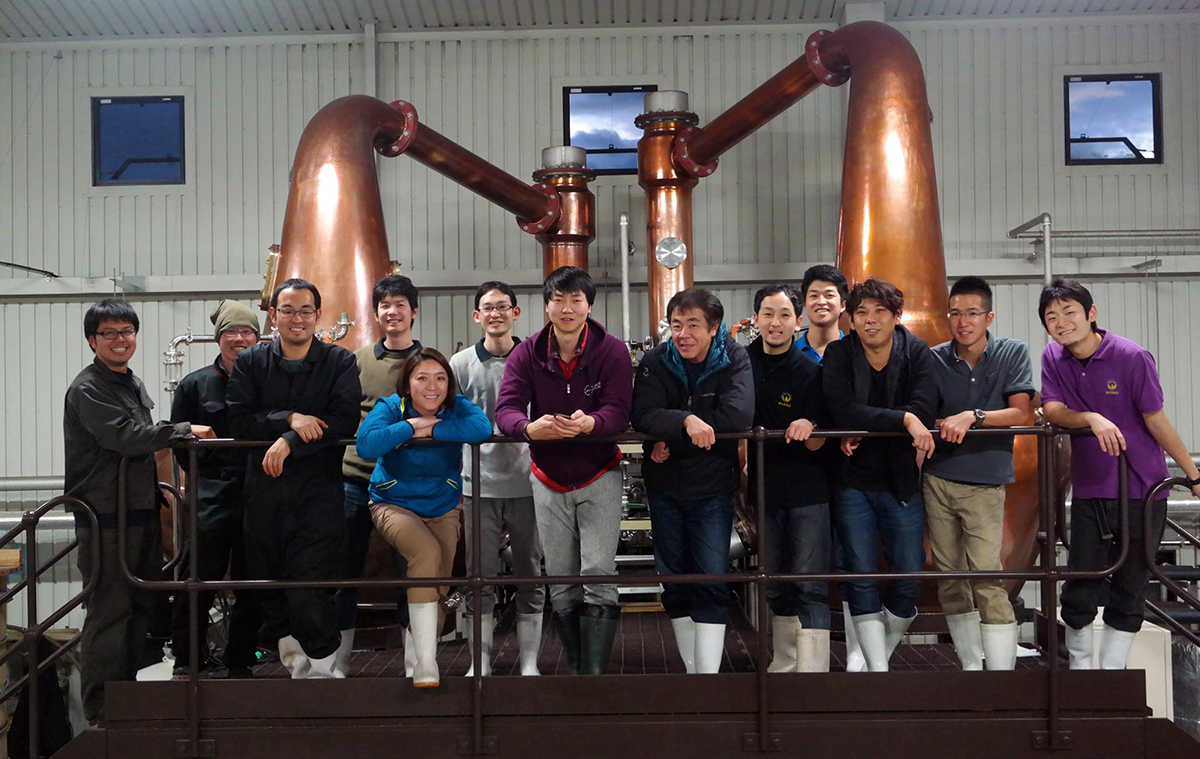 Japanese Whisky Distilleries: Ichiro Akuto (center right) and his team at Chichibu Distillery