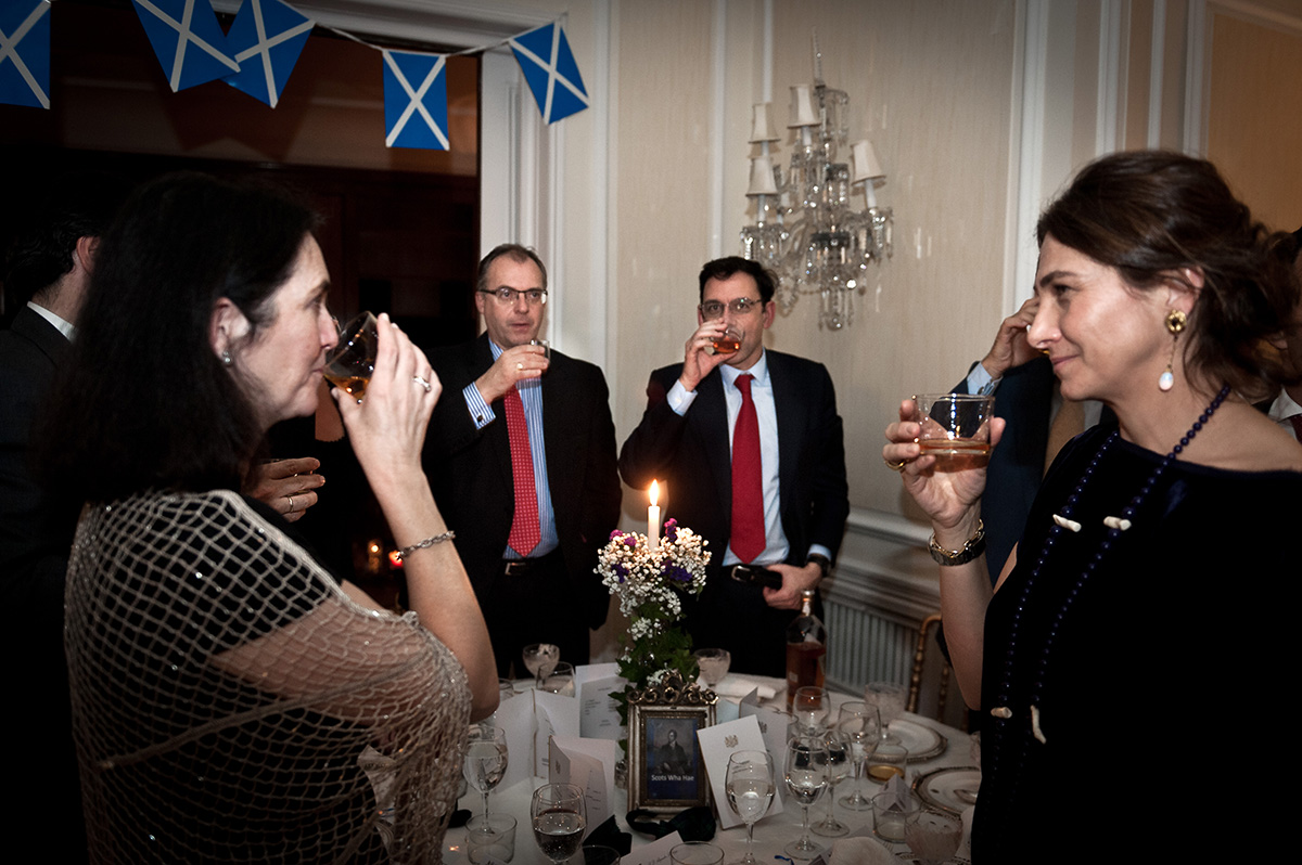 Burns Supper: People toast at Burns Night Madrid