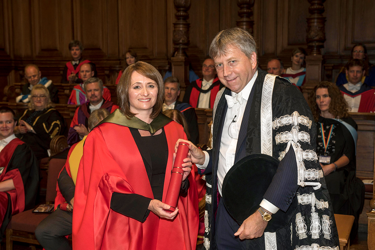 Master Blender Rachel Barrie receiving Honorary Doctorate