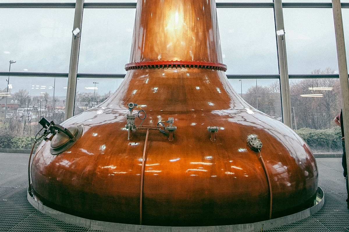 Triple Distillation: A copper pot still at Midleton Distillery