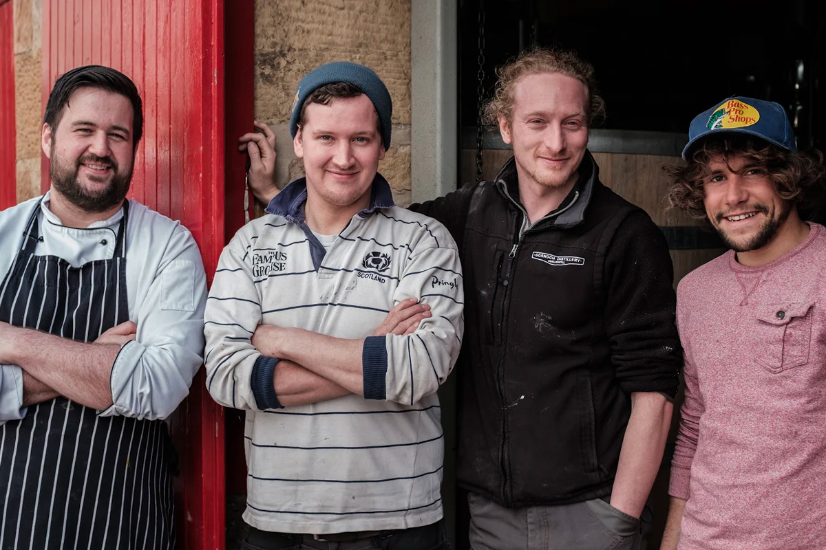 Dornoch Distillery: From left to right: hotel chef Grant Minicol, Phil Thompson, Simon Thompson, distiller Jacob Crisp