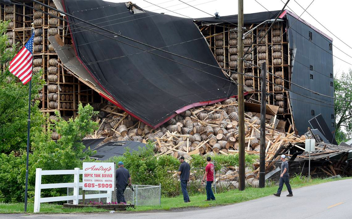 O.Z. Tyler Distillery Rickhouse Collapses