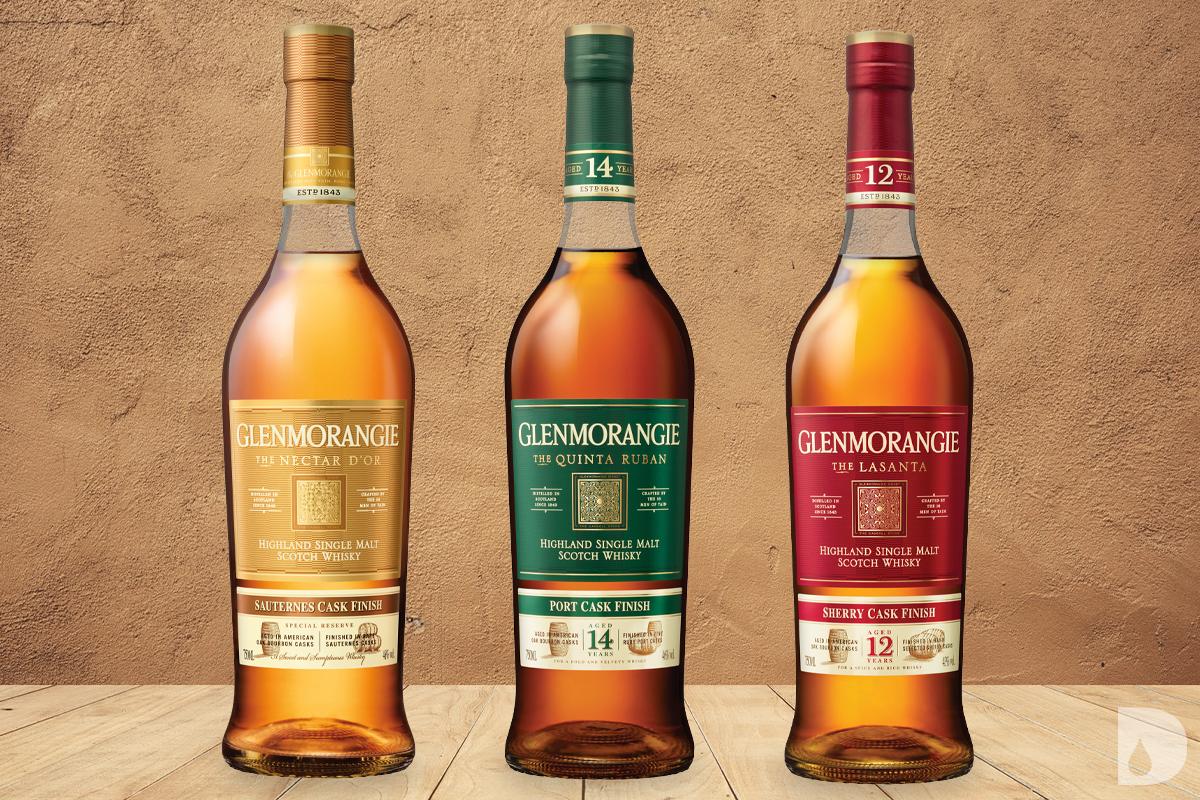 Glenmorangie Nectar D'Or Sauternes Cask Finish, Glenmorangie Quinta Ruban Port Cask Finish 14 Year & Glenmorangie Lasanta Sherry Cask Finish