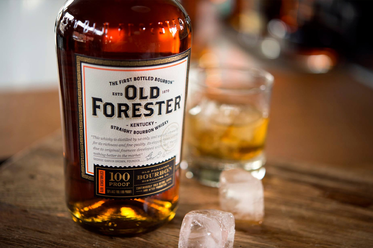 Mint Julep bourbon: Old Forester 100 Proof Bourbon