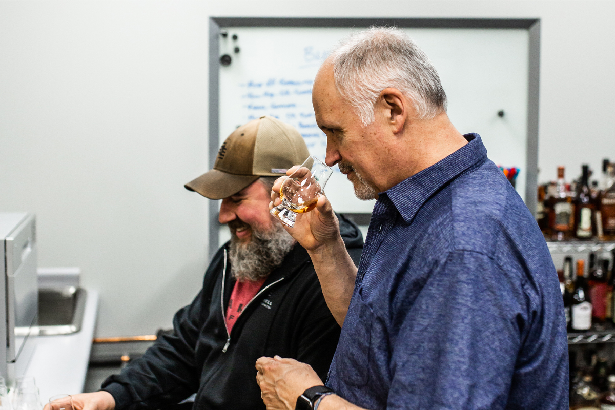 Barrell Craft Spirits: Founder Joe Beatrice and Director of Operations Tripp Stimson sample whiskeys