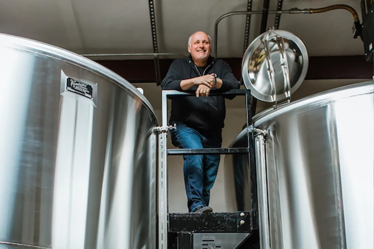 Barrell Craft Spirits: Founder Joe Beatrice poses with the brand's pair of 6,000 gallon Vendome tanks