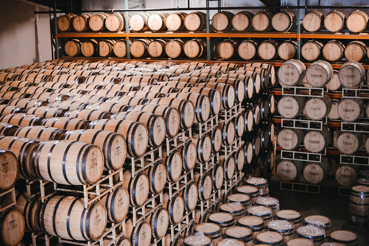 The barrel room at St. Augustine Distillery