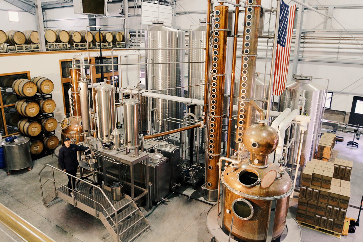 The custom-built still at craft vodka distillery Hanson of Sonoma