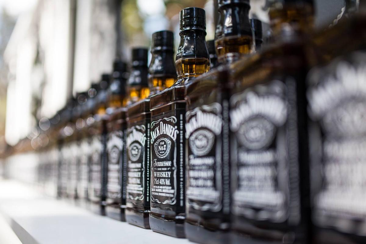 distillery tour: Jack Daniel's bottles