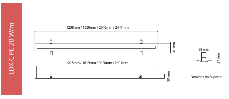 Linear | Perfiled (Recessed) 20W/m