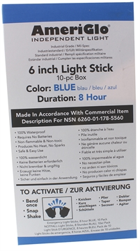 """Picture of Ameriglo 608Hb100f 6"""" 12 Hour Blue Light Stick 100/Pack"""