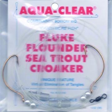Picture of Aqua Clear Hi/Lo Fluke/ Flounder/Trout/Croaker 2/0 WG Gold Hooks/Pearls