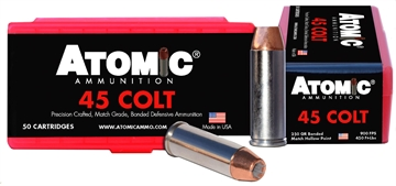 Picture of Atomic 00444 Match 45 Colt (Lc) 250 GR Bonded Match Hollow Point 50 Bx/ 10 CS
