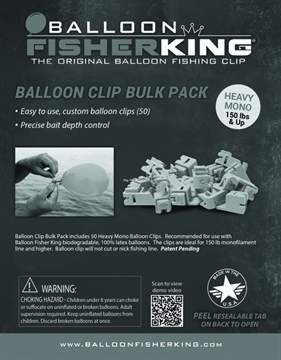 Picture of Balloon Fisher King Balloon Clip Bulk Pack Heavy Mono 50Pk