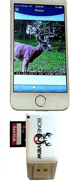 Bone View SD Card Reader For Iphone 567 W/Lightning Xtndr