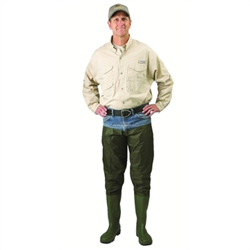 Picture of Caddis 2 Ply Nylon/Pvc Hip Boots, Cleated Sole, Green, Sz10