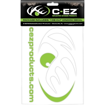"Picture of Cez Products 6"" White/Lime Reflective Die Cut Vinyl Decal!"