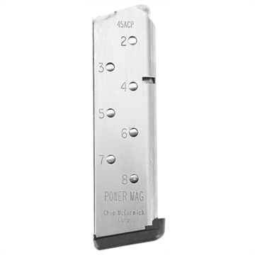 Picture of Cmc Products 14131 1911 Power Mag  45 Automatic Colt Pistol (Acp) 8 Round Stainless Steel Finish