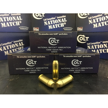 Picture of Colt Ammo 10M180fmjct National Match 10Mm Automatic 180 GR Fmj 50 Bx/ 20 CS