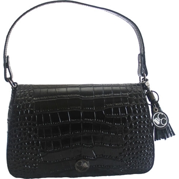 Picture of Concealed Carrie Carrie Clutch Black Crocodile Printed Leathr