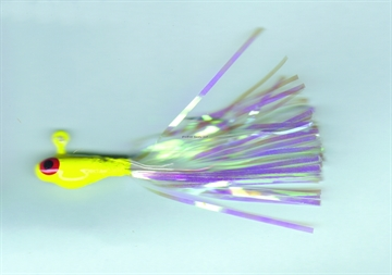 Picture of Dons Jigs Glass Minnow Jig, 1/4 Oz, Hair Tail/White With Blue Head