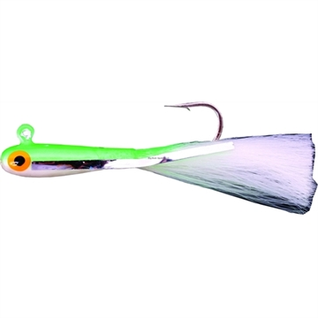 Picture of Dons Jigs Glass Minnow Jig, 1/4 Oz, Hair White Tail/White With Green Head