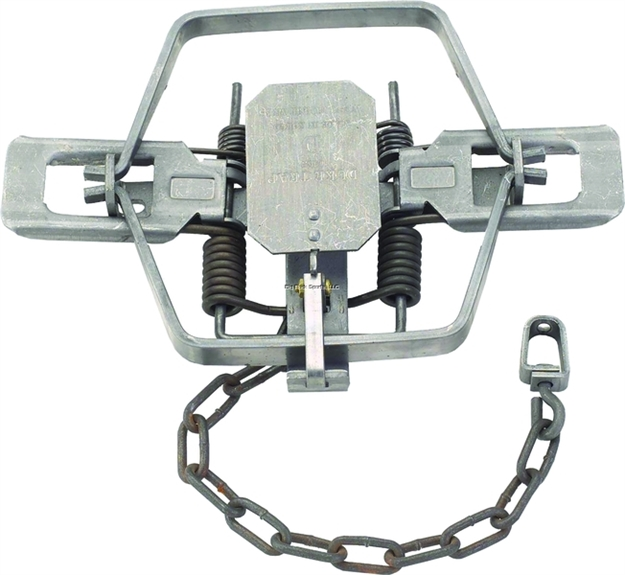 "Picture of Duke Traps Coil Spring Trap, Square Jaw, #4 CS 4X, 6.5"" Jaw Spread, Beaver, Bobcat, Coyote, Lynx"