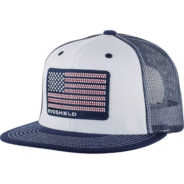 Picture of Evoshield Flag Patch Snapback Trucker Hat-White/Navy Mesh