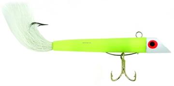 "Picture of Got-Cha 100 Series Plug With Bucktail, 3"", 1 Oz, SZ 4 Treble & 2/0 Single Hook, White/White Tail"