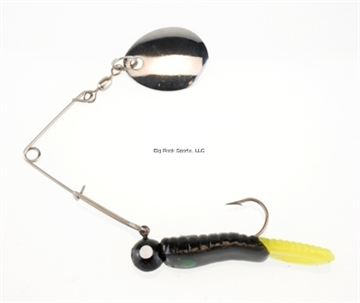 """Picture of Johnson Beetle Spin Jig, 1 1/2"""", 1/8 Oz, Black/Chartreuse, Nickel Blade, 3/Pack"""