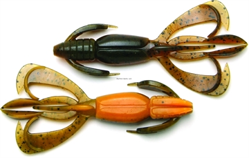 """Picture of Keitech Alabama Crawn, 3.6"""" Twin Tail Craw / Creature, 7 Per Pack, Bag & Blister Pack, Strong Squid Scent Infused"""