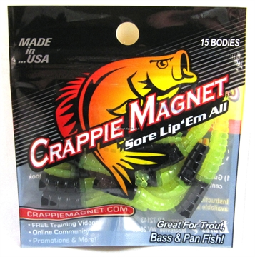 Picture of Leland Lures Crappie Magnet 15 Pc. Body Pack, Black/Chartreuse, 15/Pack