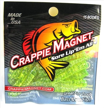 Picture of Leland Lures Crappie Magnet 15 Pc. Body Pack, Chartreuse/Silver Flash, 15/Pack