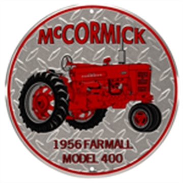 "Picture of Mccormick  Road Brands Emb Tin Sign  Tractor Rnd 12""X12"""