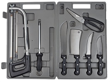 """Picture of Meyerco Mbdp2 Game Processor Set 8"""" Butcher/5.5"""" Boning/4"""" Skinning Stainless Steel 10 Piece Set Rubber"""