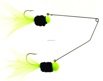 """Picture of MR Crappie Slab Daddy Supper Rig, 1 1/2"""", 1/16 OZ Top/1/8 OZ Bottom, Chartreuse/Black Classic, 1/Blister Card"""