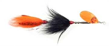 """Picture of Musky Mania Double Trouble Classic Tandem Bucktail In-Line Spinner, 10"""", 2 Oz, Black/Orange"""