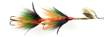 """Picture of Musky Mania Double Trouble Classic Tandem Bucktail In-Line Spinner, 10"""", 2 Oz, Perch"""